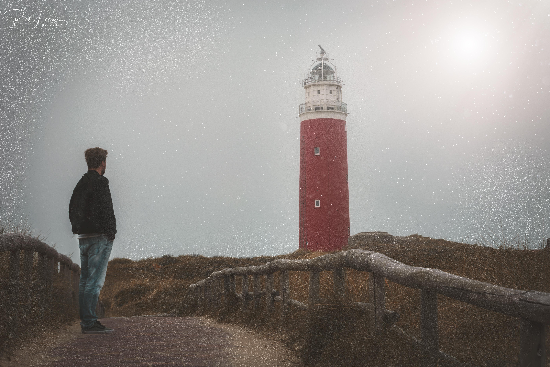 Op Texel: bij de vuurtoren in de mist